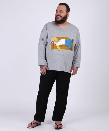 Pijama-Masculino-Plus-Size-Camiseta-Homer-Simpsons--Manga-Longa-Gola-Careca-Cinza-Mescla-9954420-Cinza_Mescla_1