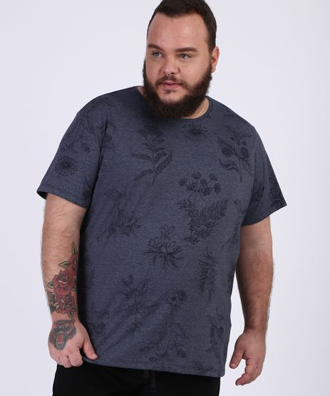 Camiseta-Masculina-Plus-Size-Destampada-Floral-Manga-Curta-Gola-Careca-Azul-Marinho-9956793-Azul_Marinho_1