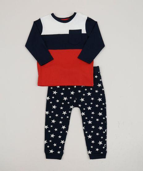 Conjunto-Infantil-de-Camiseta-com-Bolso-Vermelha---Calca-Estampada-de-Estrelas-Azul-Marinho-9951497-Azul_Marinho_1