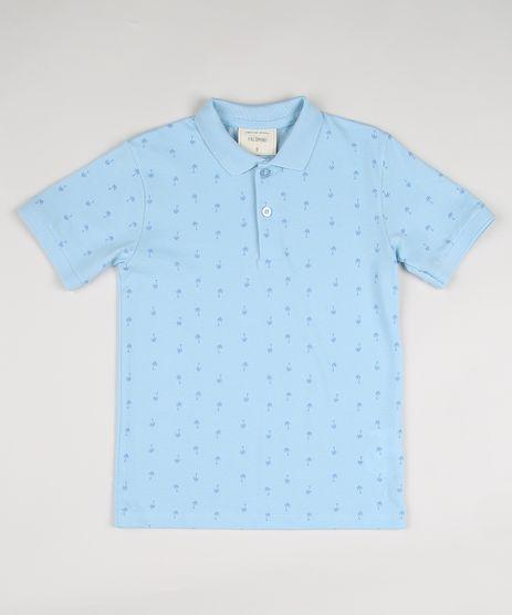 Polo-Infantil-em-Piquet-Estampada-de-Coqueiro-Manga-Curta-Azul-9922328-Azul_1