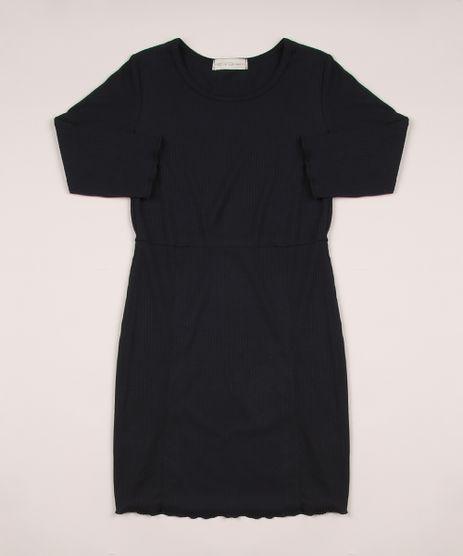 Vestido-Juvenil-Canelado-Manga-Longa-Preto-9950122-Preto_1