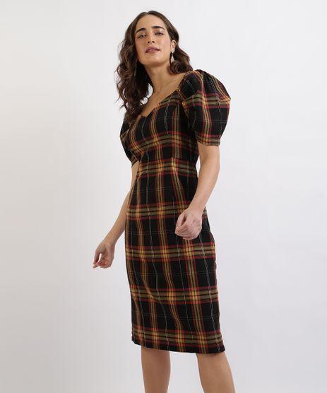 Vestido-Feminino-Mindset-Midi-Estampado-Xadrez-Manga-Curta-Bufante-Preto-9912589-Preto_1