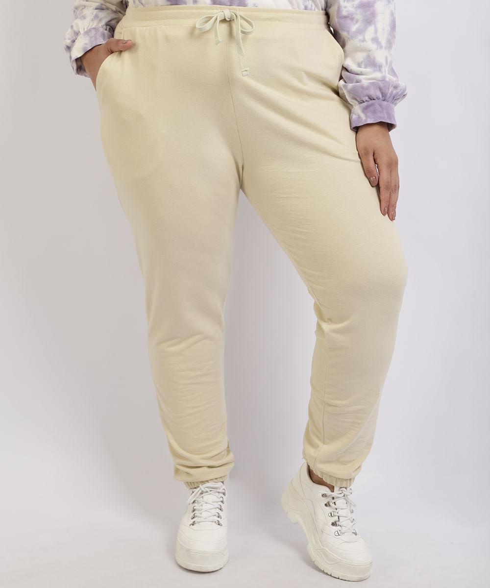 Calça de Moletom Feminina Mindset Plus Size Jogger Cintura Alta Amarelo Claro