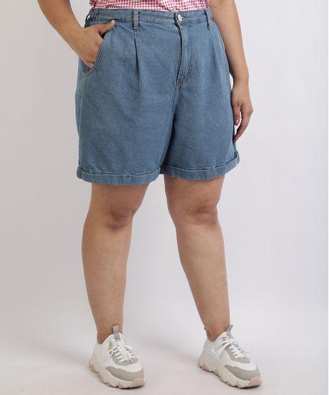 Bermuda-Jeans-Feminina-Mindset-Plus-Size-com-pregas-Cintura-Alta-Azul-9958940-Azul_1