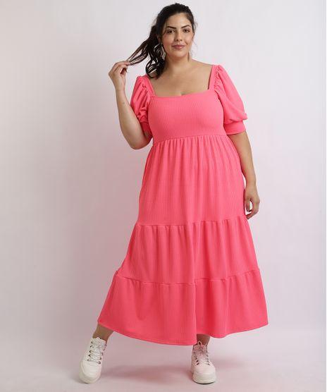 Vestido-Feminino-Mindset-Plus-Size-Midi-Canelado-Com-Babado-Manga-Curta-Bufante-Pink-9959522-Pink_1