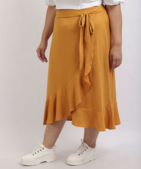 Saia-Feminina-Mindset-Plus-Size-Midi-com-Transpasse-e-Babado-Amarela-9959946-Amarelo_1