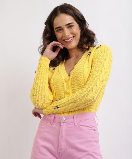 Cardigan-Feminino-Mindset-com-Bordado-de-Flores-Decote-V-e-Botoes-Amarelo-9960566-Amarelo_1