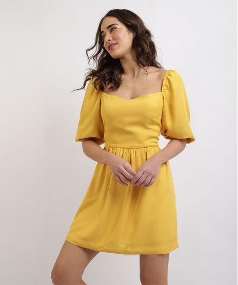 Vestido-Feminino-Mindset-Curto-Manga-Curta-Bufante-Decote-Princesa-Amarelo-9960578-Amarelo_1