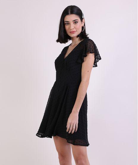 Vestido-Feminino-Curto-em-Tule-Estampado-Poa-Manga-Curta-Preto-9885987-Preto_1