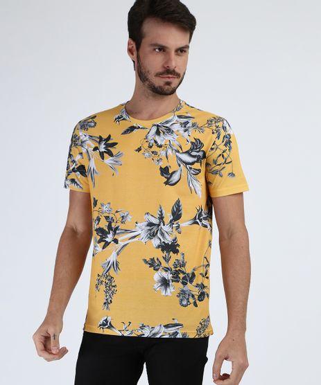 Camiseta-Masculina-Estampada-Floral-Manga-Curta-Gola-Careca-Amarela-9951873-Amarelo_1