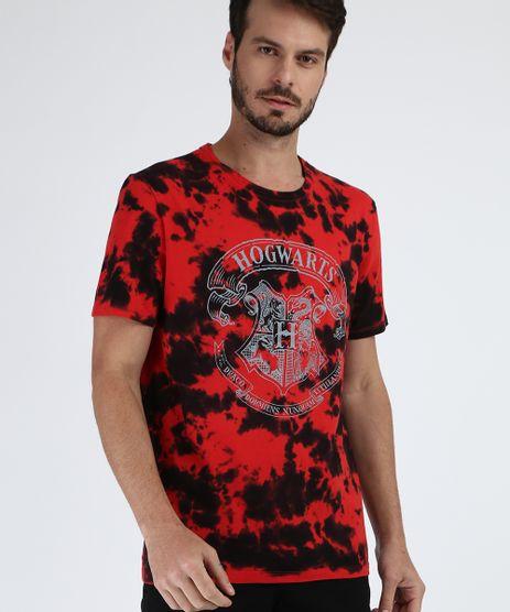 Camiseta-Masculina---Logo-Hogwards--Harry-Potter-Estampada-Tie-Dye-Manga-Curta-Gola-Careca-Vermelho-9956332-Vermelho_1