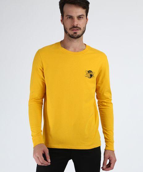 Camiseta-Masculina-Planeta-Terra-Manga-Longa-Gola-Careca-Amarela-9956887-Amarelo_1