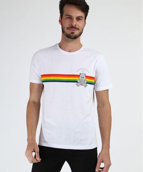 Camiseta-Masculina-Estampada-de-Listras-Ursinhos-Carinhosos-Manga-Curta-Gola-Careca-Branca-9956940-Branco_1