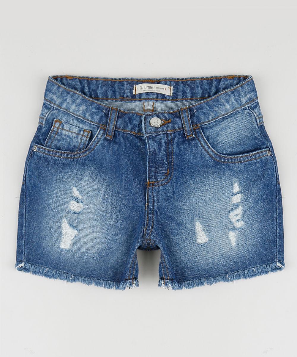 Short Jeans Infantil Reto Destroyed Azul Escuro