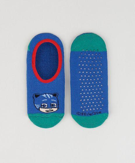 Meia-Infantil-Sapatilha-Menino-Gato-PJ-Masks-Atoalhada-com-Sola-Antiderrapante-Azul-Marinho-9932604-Azul_Marinho_1