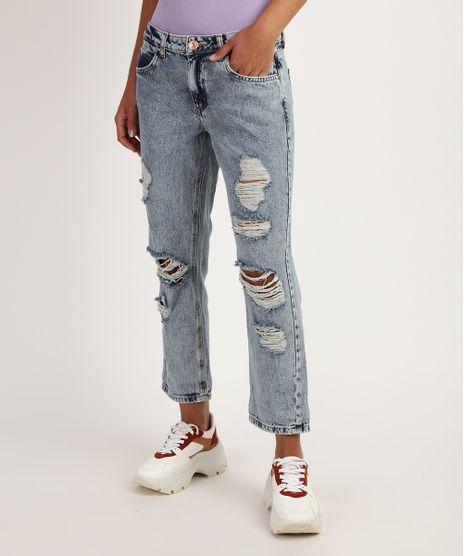 Calca-Jeans-Feminina-Boyfriend-Cintura-Media-Destroyed-Azul-9950707-Azul_1
