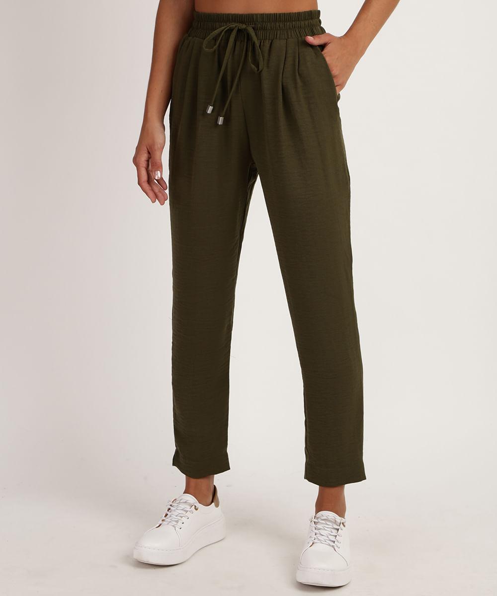 Calça Feminina Cintura Alta com Cordão e Bolso Verde
