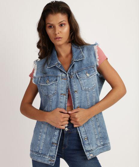 Colete-Jeans-Feminino-Longo-Marmorizado-com-Bolsos-e-Tachas-Cava-Desfiada-Azul-Medio-9956137-Azul_Medio_1