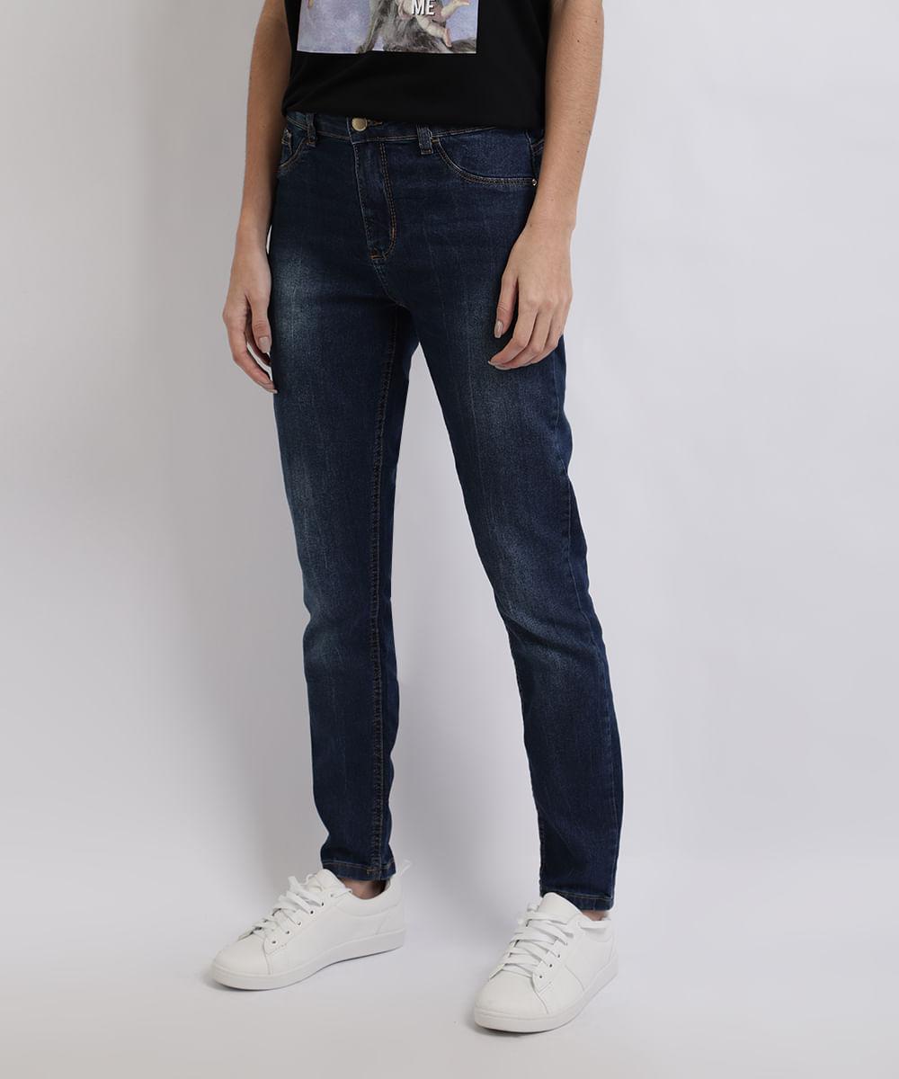 Calça Jeans Feminina Cigarrete Cintura Alta Azul Médio