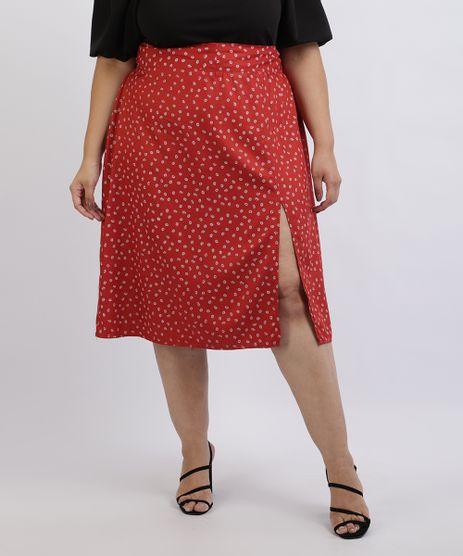 Saia-Feminina-Plus-Size-Midi-Estampada-Floral-com-Fenda-Vermelha-9957742-Vermelho_1
