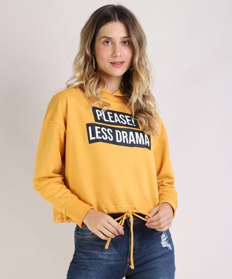 Blusao-de-Moletom-Feminino--Please-Less-Drama--com-Capuz-Mostarda-9523974-Mostarda_1
