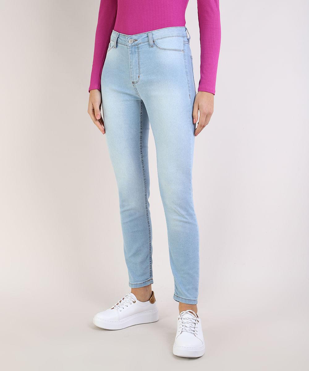 Calça Jeans Feminina Cigarrete Cintura Média Azul Claro