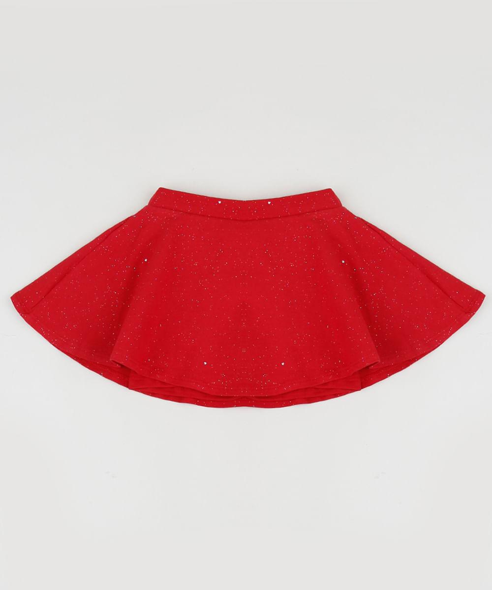 Short Saia Infantil com Glitter Vermelha