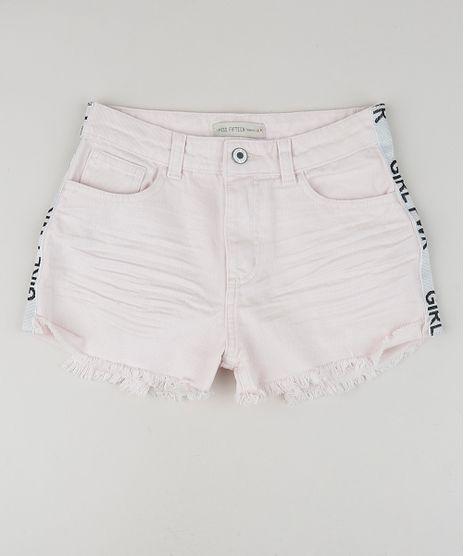 Short-Jeans-Juvenil-Destroyed-com-Estampa-Lateral--Rosa-9957960-Rosa_1