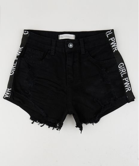 Short-Jeans-Juvenil-Destroyed-com-Estampa-Lateral--Preto-9957962-Preto_1