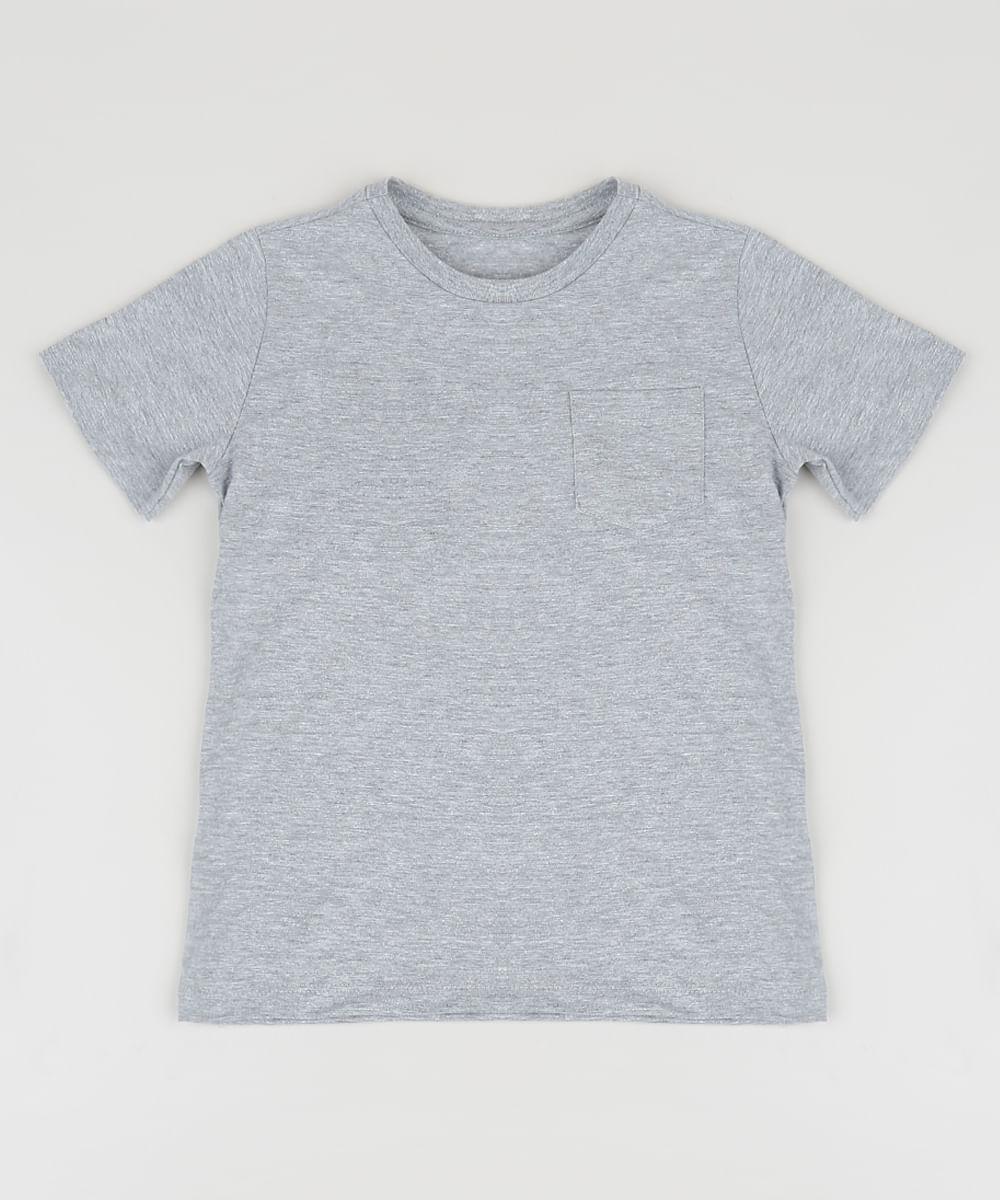 Camiseta Infantil Básica com Bolso Manga Curta Cinza