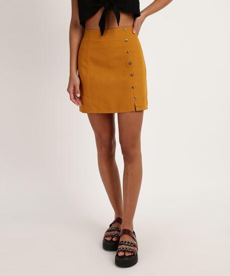 Saia-Feminina-Curta-com-Botoes-Amarela-9951727-Amarelo_1
