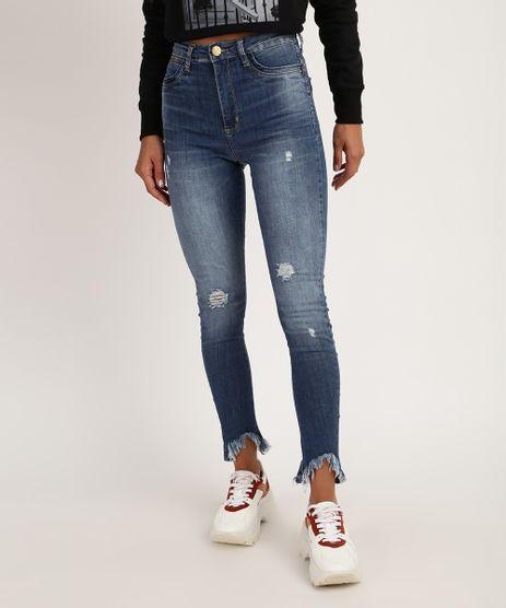 Calca-Jeans-Feminina-Sawary-Cigarrete-Cintura-Alta-Destroyed-Azul-Escuro-9952538-Azul_Escuro_1
