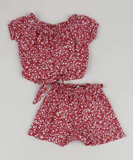 Conjunto-Infantil-Estampado-Floral-de-Blusa---Short-Vermelho-9959599-Vermelho_1