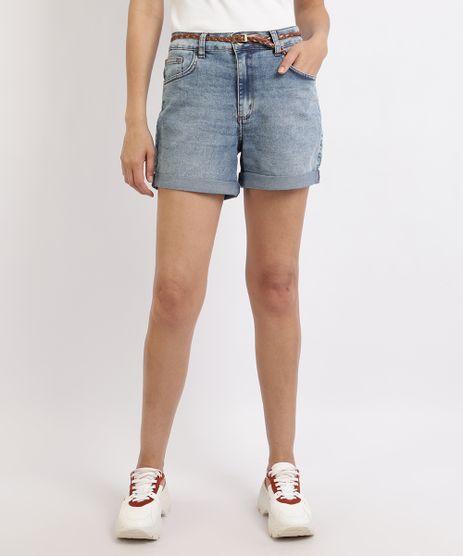 Shorts-Jeans-Feminino-Cintura-Alta-Barra-Dobrada-com-Cinto-Azul-Escuro-9931528-Azul_Escuro_1