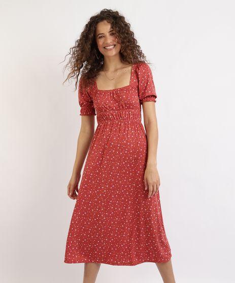 Vestido-Feminino-Midi-Estampado-Floral-Manga-Bufante-Vermelho-9955730-Vermelho_1