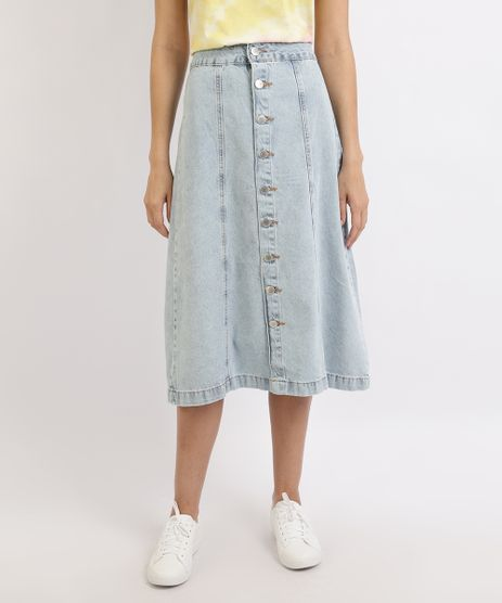 Saia-Jeans-Feminina-Midi-Evase-com-Botoes-Azul-Claro-9960101-Azul_Claro_1