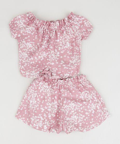 Conjunto-Infantil-Estampado-Floral-de-Blusa---Short-Rosa-Claro-9959600-Rosa_Claro_1