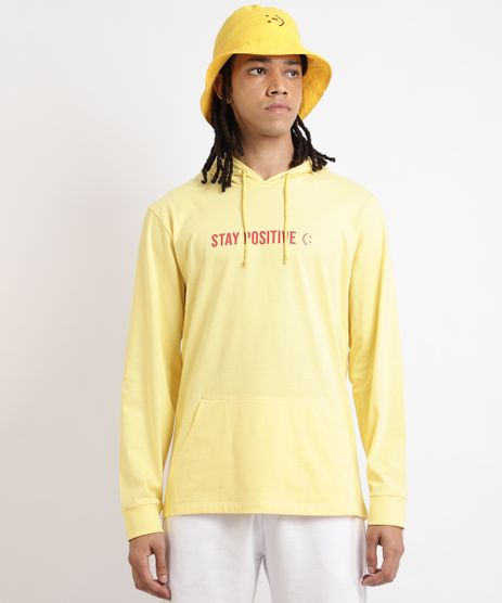 Camiseta-Masculina--Stay-Positive--com-Capuz-e-Bolso-Manga-Longa-Amarela-9959848-Amarelo_1