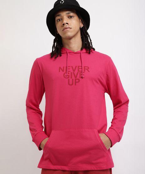 Camiseta-Masculina--Never-Give-Up--Manga-Longa-Gola-com-Capuz-Rosa-Escuro-9959850-Rosa_Escuro_1