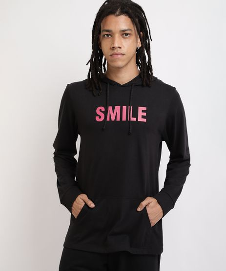 Camiseta-Masculina--Smile--Manga-Longa-Gola-com-Capuz-Preto-9959846-Preto_1
