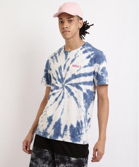 Camiseta-Masculina-Estampada-Tie-Dye--Smile--Gola-Careca-Manga-Curta-Azul-9958551-Azul_1
