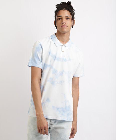 Polo-Masculina-Estampada-Tie-Dye-Manga-Curta-Azul-Claro-9959858-Azul_Claro_1