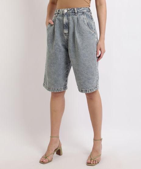 Bermuda-Jeans-Feminina-Mindset-Marmorizada-Slouchy-Cintura-Alta-com-Bolsos-Azul-Medio-9962188-Azul_Medio_1