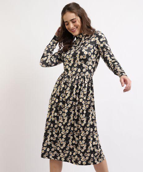 Vestido-Feminino-Mindset-Midi-Estampado-Floral-Margaridas-Manga-Longa-Gola-Alta-Preto-9962192-Preto_1
