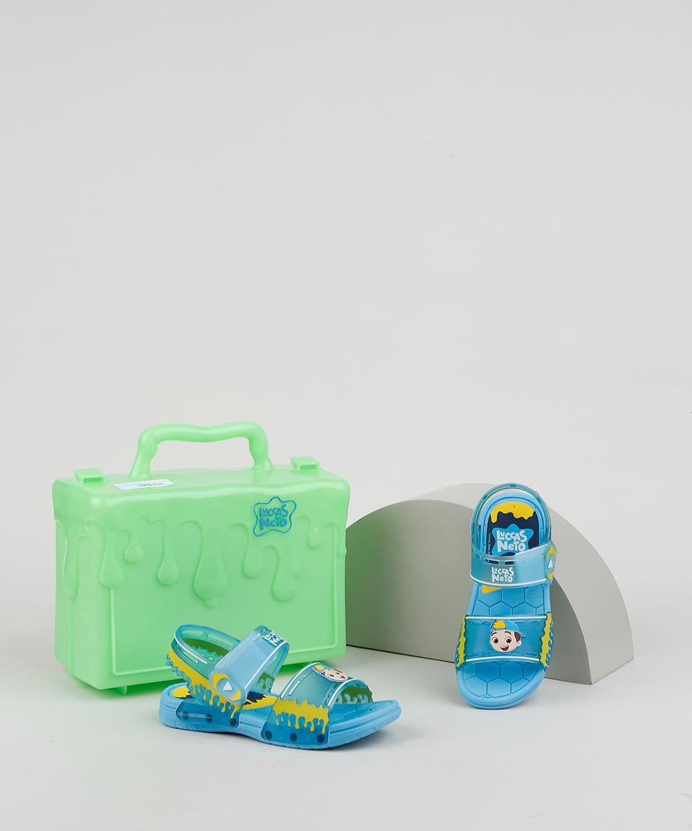 Sandália Papete Infantil Grendene Luccas Neto + Maleta Azul
