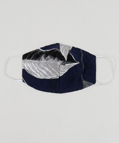 Mascara-de-Tecido-Reutilizavel-para-Protecao-Individual-Estampada-de-Folhagem-Azul-9953312-Azul_1