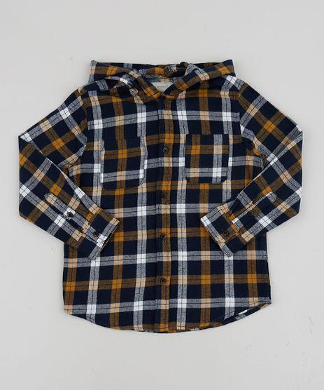 Camisa-Infantil-Estampada-Xadrez-em-Flanela-com-Bolso-e-Capuz--Amarela-9808438-Amarelo_1
