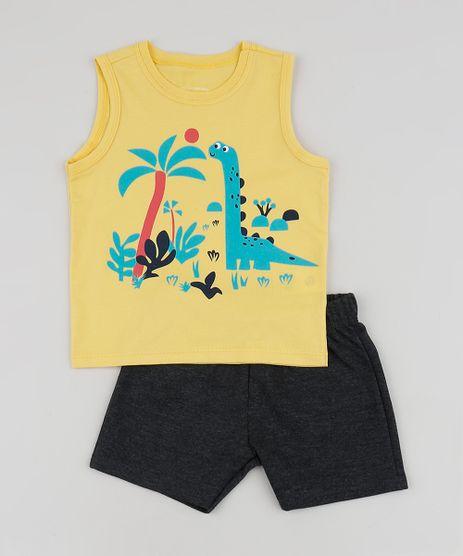 Conjunto-Infantil-de-Regata-Dinossauro---Bermuda-em-Moletom-Amarelo-9952700-Amarelo_1