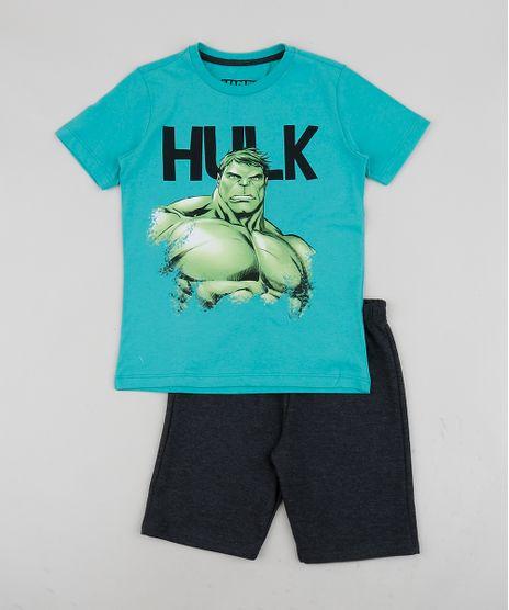 Conjunto-Infantil-de-Camiseta-Hulk-Manga-Curta---Short-de-Moletom-Azul-9954596-Azul_1