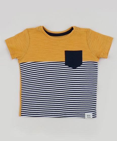 Camiseta-Infantil-Estampada-Listrada-com-Bolso-Manga-Curta--Amarela-9955701-Amarelo_1